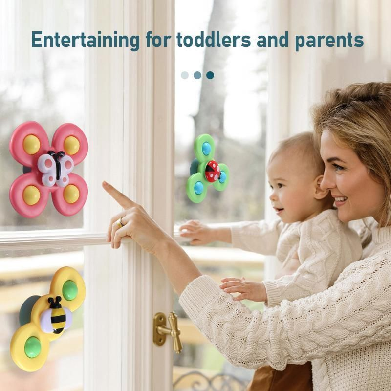 Cute Cartoon Suction Cup Spinner Toy 3pcs Video In 2021 Spinner Toy Baby Corner Spinning Top Toy