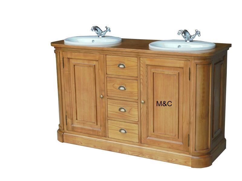 Meuble de salle de bain fabriqué en bois massif ( Châtaignier ) et