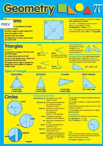 Geometry Maths Educational Poster Chart | SAT MATH | Pinterest ...