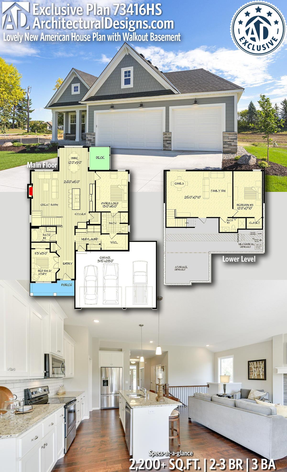 Plan 73416hs Lovely New American House Plan With Walkout Basement American Houses House Plans Basement House Plans