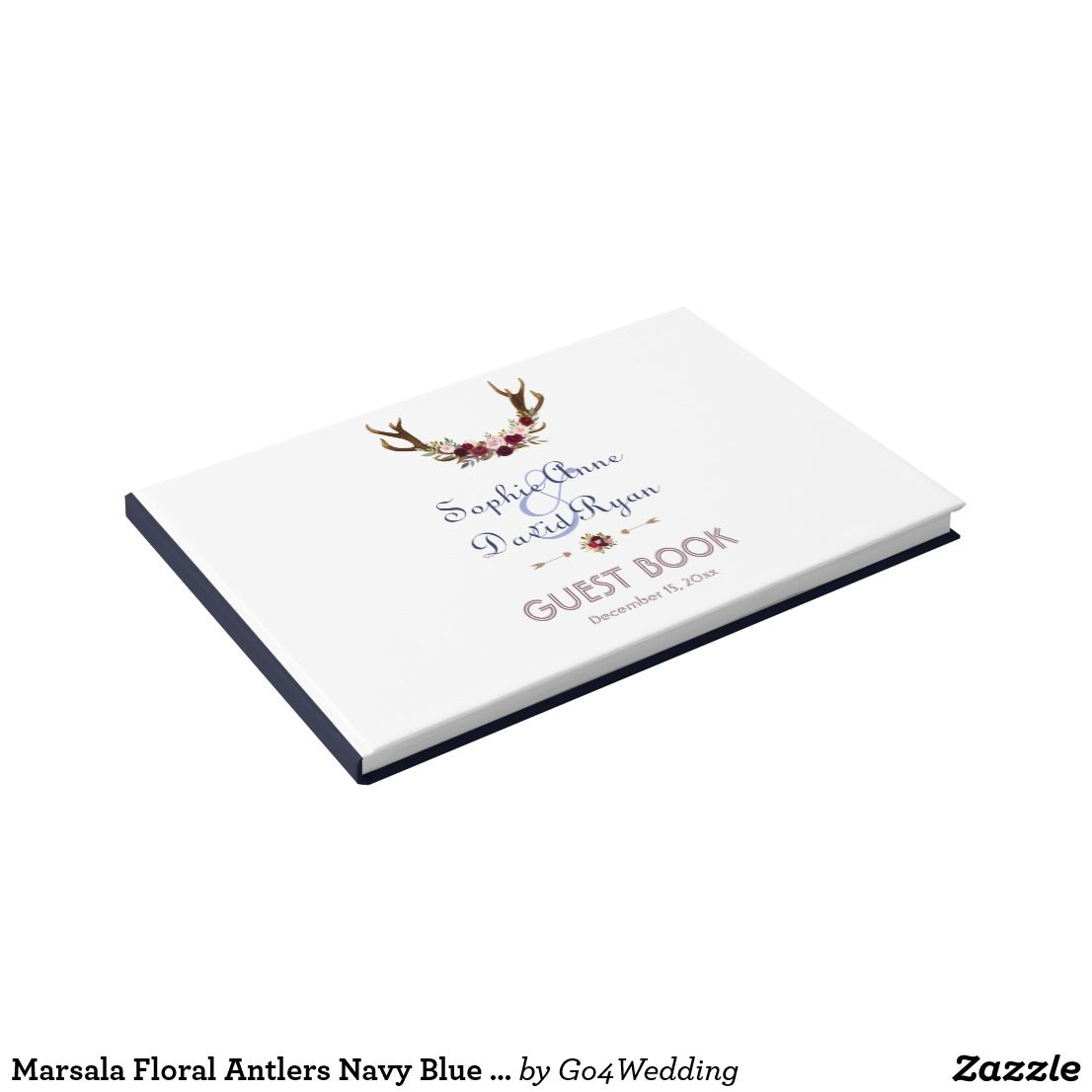 Marsala Floral Antlers Navy Blue Fall Wedding Guest Book | Blue fall ...