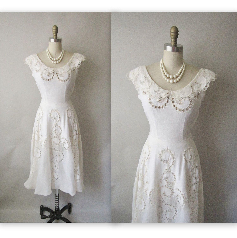 50\'s Wedding Dress // Vintage 1950\'s White Cut-Out Organdy Linen ...