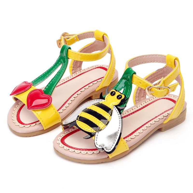da141cfb6 Children Shoes Girls Sandals 2018 Summer Fashion Cute Cartoon Love Cherry  Bees PU Leather Soft Toddler Baby Shoes Kids Sandals