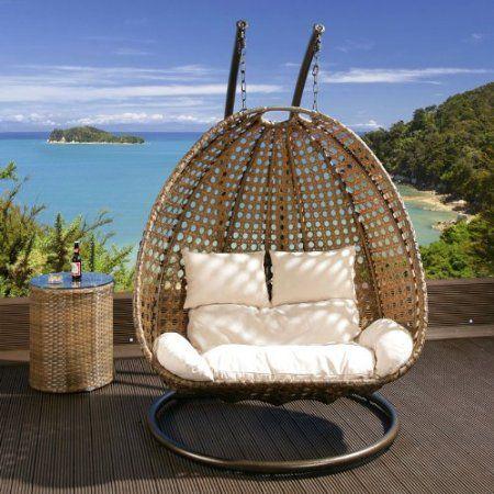 2 Seater Garden Hanging Chair/Sofa Brown Rattan Cream Cushion ...