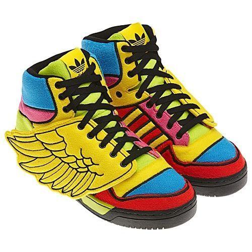 ea0600c34438 Adidas Jeremy Scott JS Wing Shoes Sun Poppy Oddity Wild Yellow Mid Red Blue  Rare