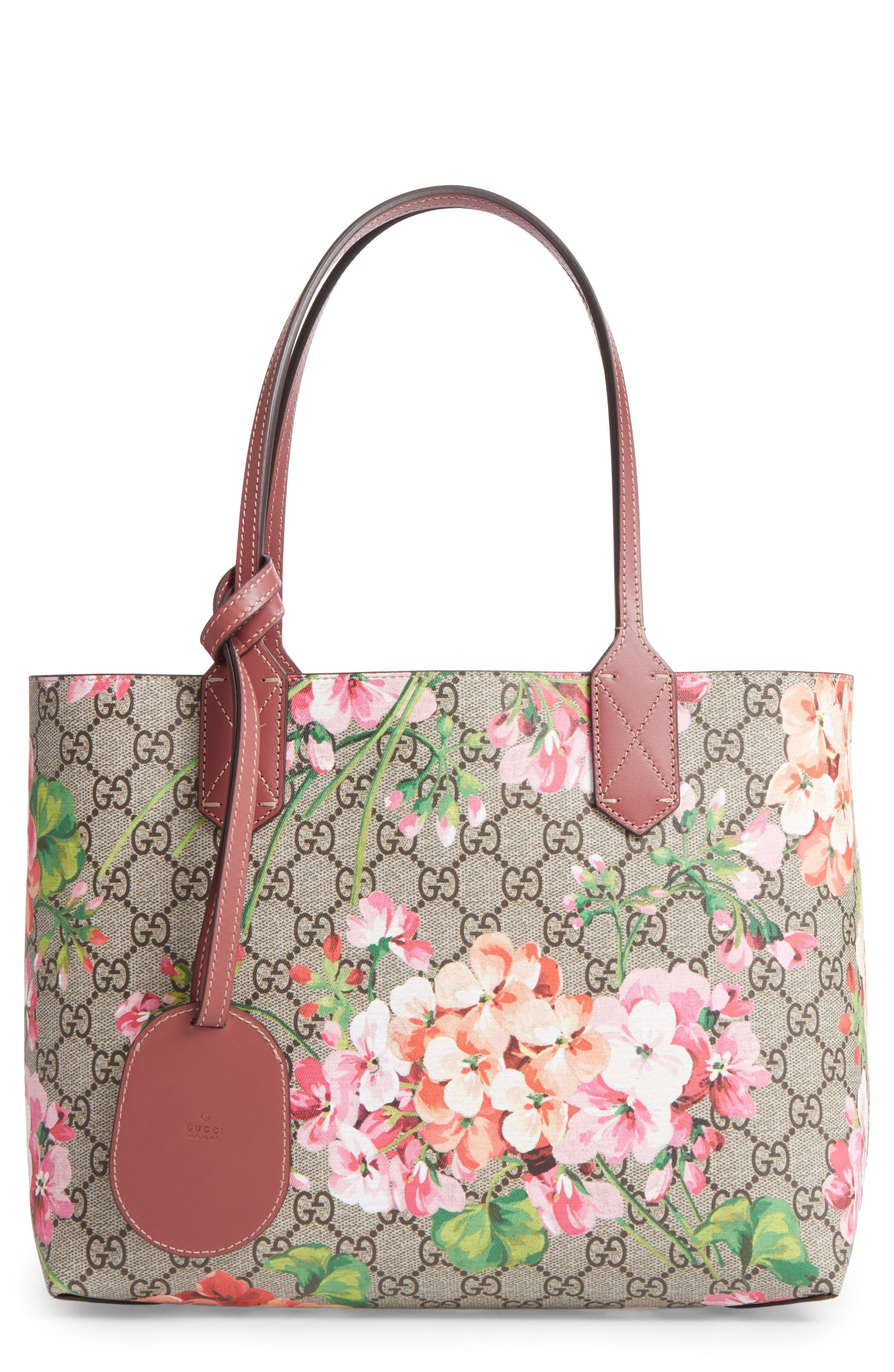 34f441be473 New Gucci Small GG Blooms Reversible Canvas Leather Tote fashion online.    980   shop.seehandbags