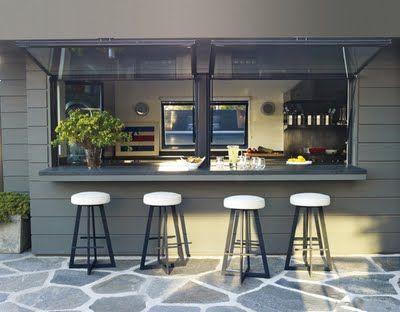 Coastal Style Indoor Outdoor Kitchen Kitchen Window Bar Pass Through Kitchen