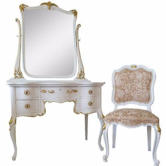 Antique White Makeup Vanity With Mirror & Chair - Antique White Makeup Vanity With Mirror & Chair White Makeup