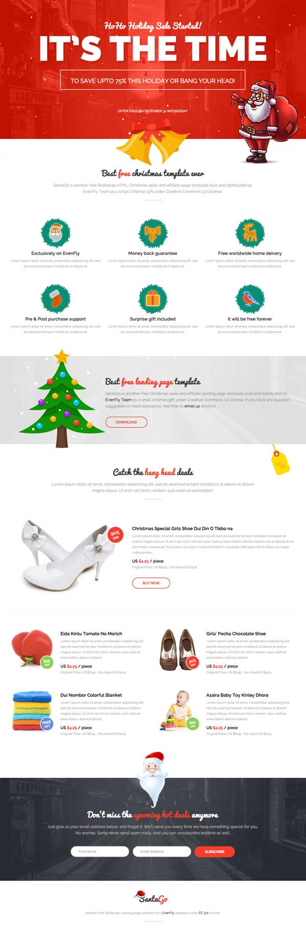 Hermosa plantilla web responsiva, Landing page para navidad gratis ...