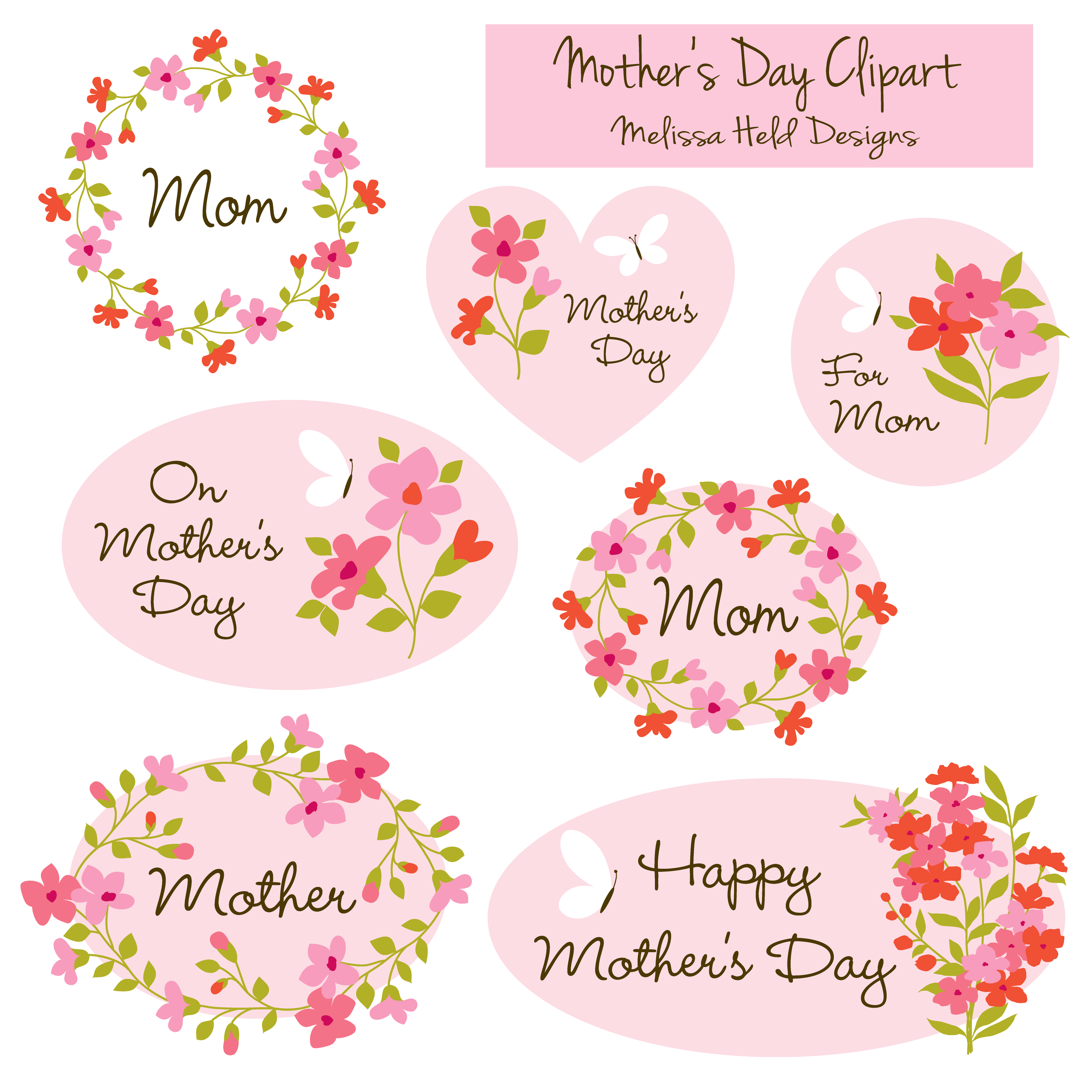 Mothers Day Clipart Mothers Day Crafts Mothers Day Cupcake Toppers Baby Shower Girl