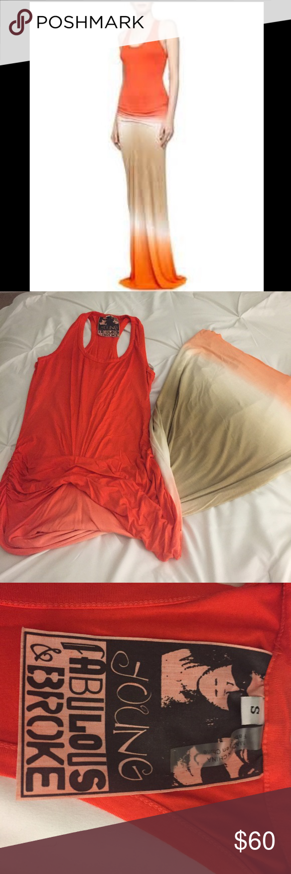 Young Fabulous & Broke Hamptons Ombré Maxi Dress S Young Fabulous & Broke Hamptons Ombré Maxi Dress in size small.  Racer back tank, gathers in front.  Dress goes from orange to tan to orange.  Young Fabulous and Broke clothing have raw hem, meaning you cut the material.  The dress was already cut, suggest to fit height of 5'4 or shorter. Young Fabulous & Broke Dresses Maxi