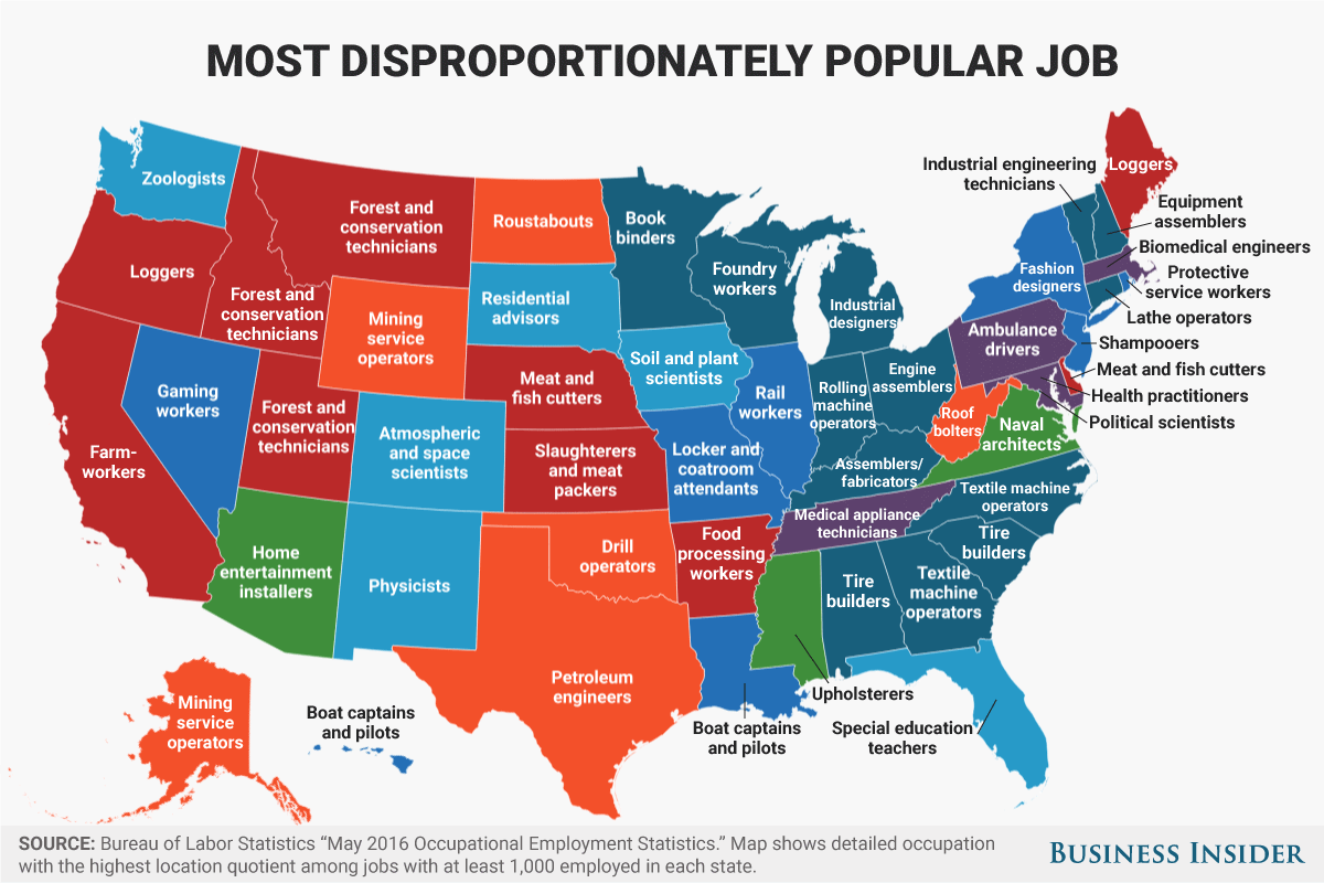 Map Shows The Most Disproportionately Popular Job In Each State
