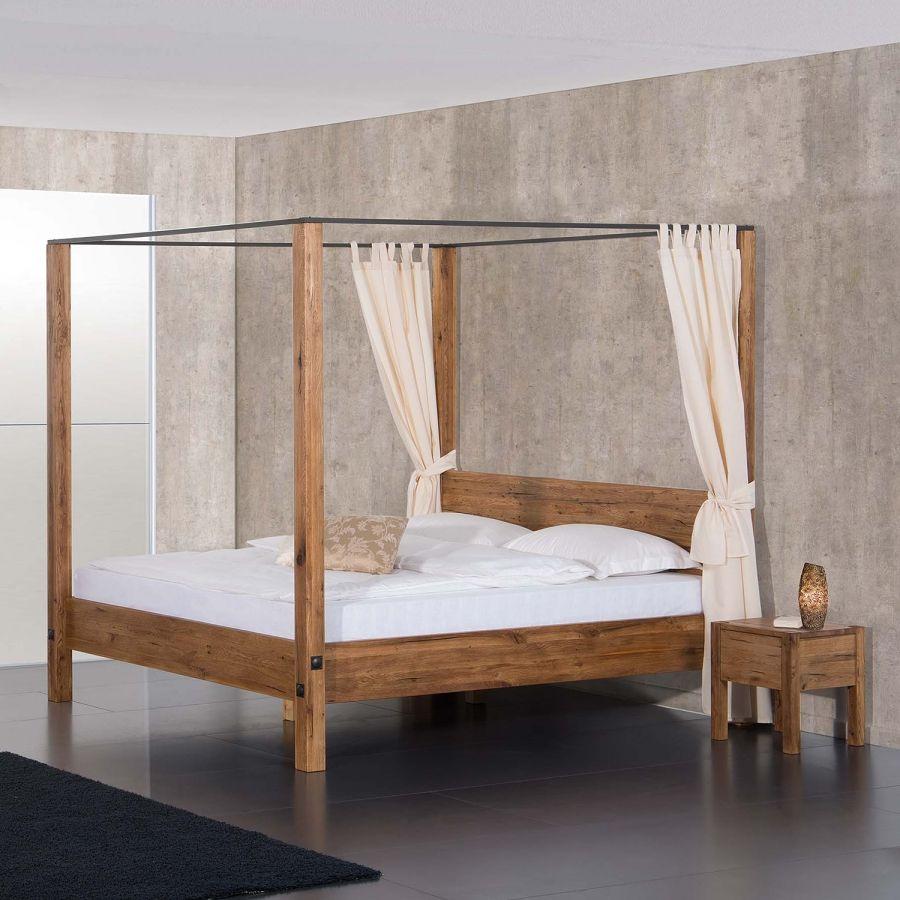 himmelbett porto-alegre - sumpfeiche massiv - 160 x 200cm | deko, Schlafzimmer entwurf