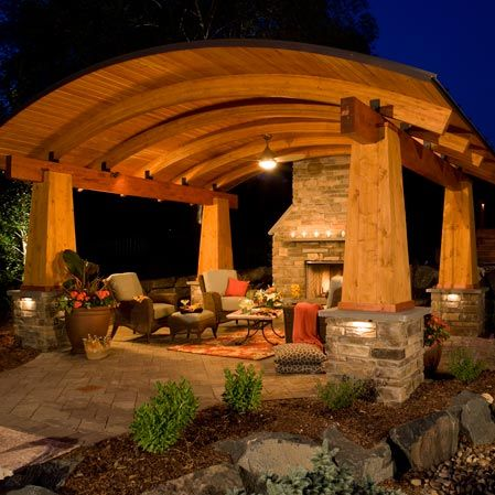 Design ideas for your outdoor spaces on pinterest - Outdoor living spaces with fireplace ...