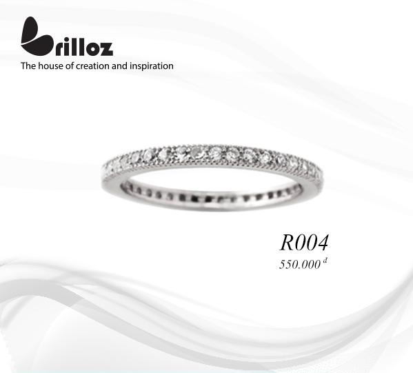 Nhẫn bạc tròn hạt đá CZ.