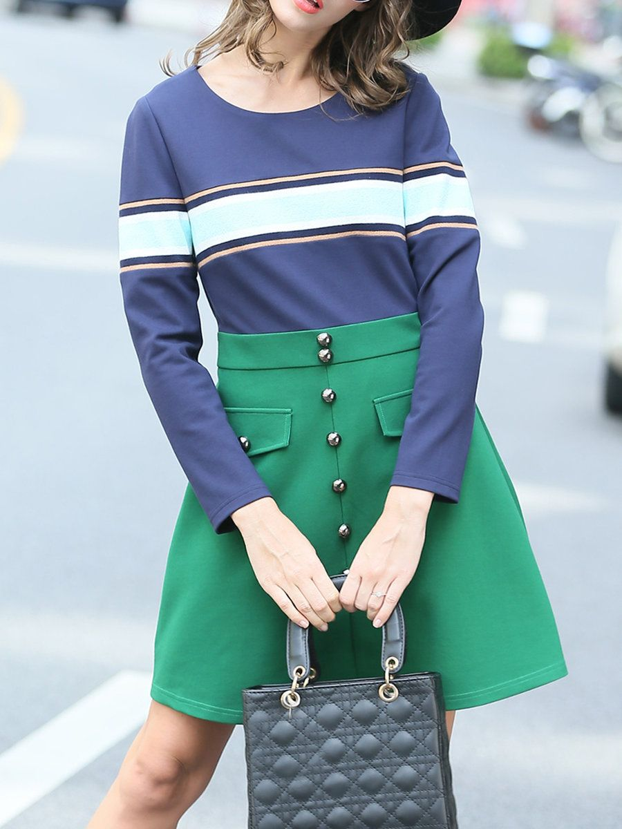 #AdoreWe #StyleWe AOFULI Green Stripes Long Sleeve Color Block Buttoned A-line Mini Dress - AdoreWe.com