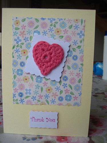 Crochet Heart Thank You Card Cards Handmade Valentines Cards