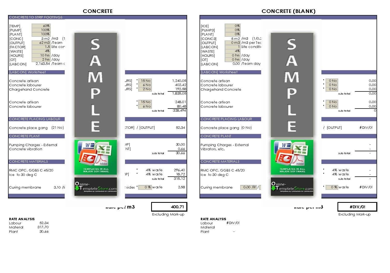 Tender Rate Build Up Sheet