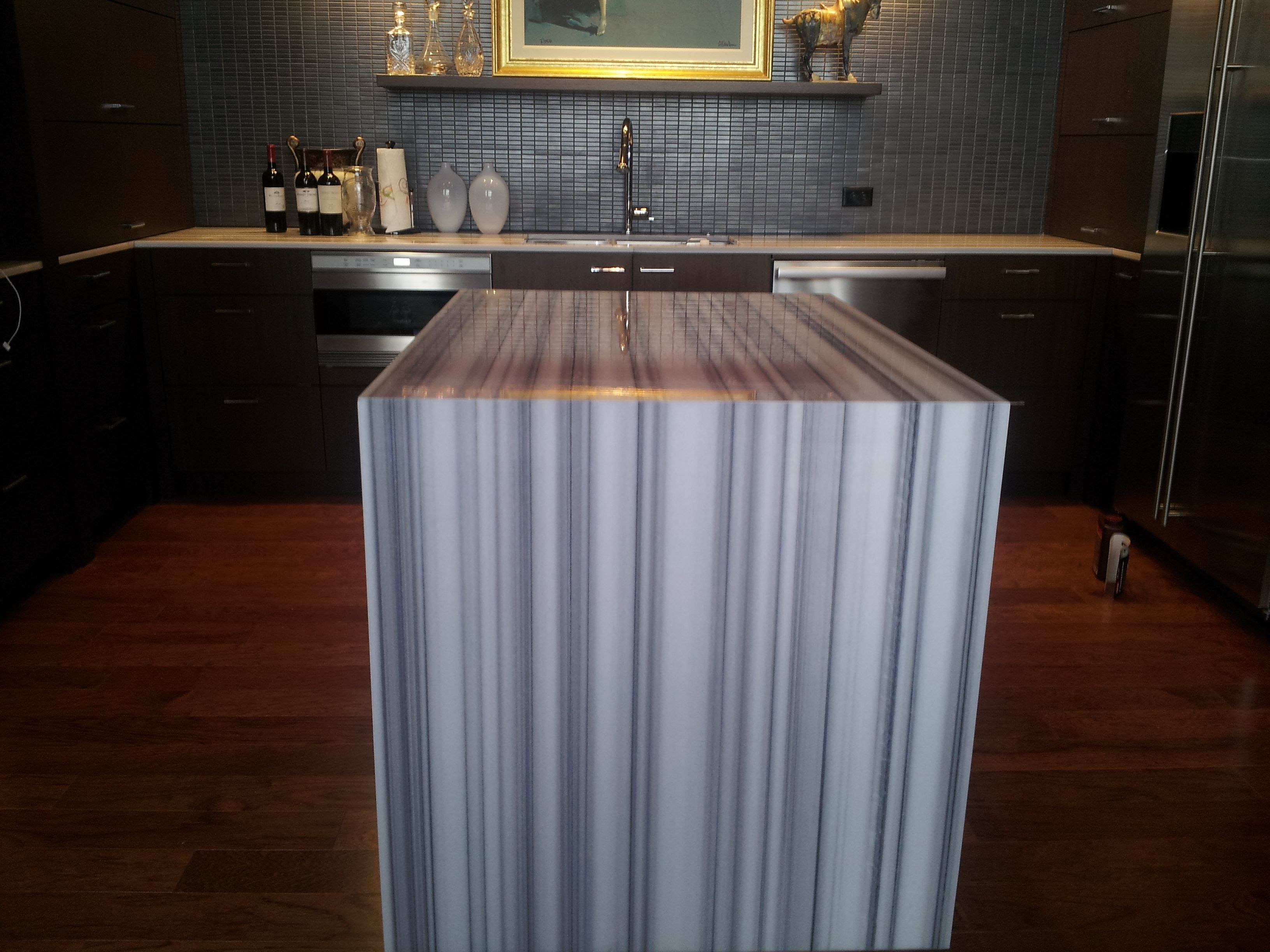 Equator marble with mitered edge and waterfall - Miami Circle Marble ...