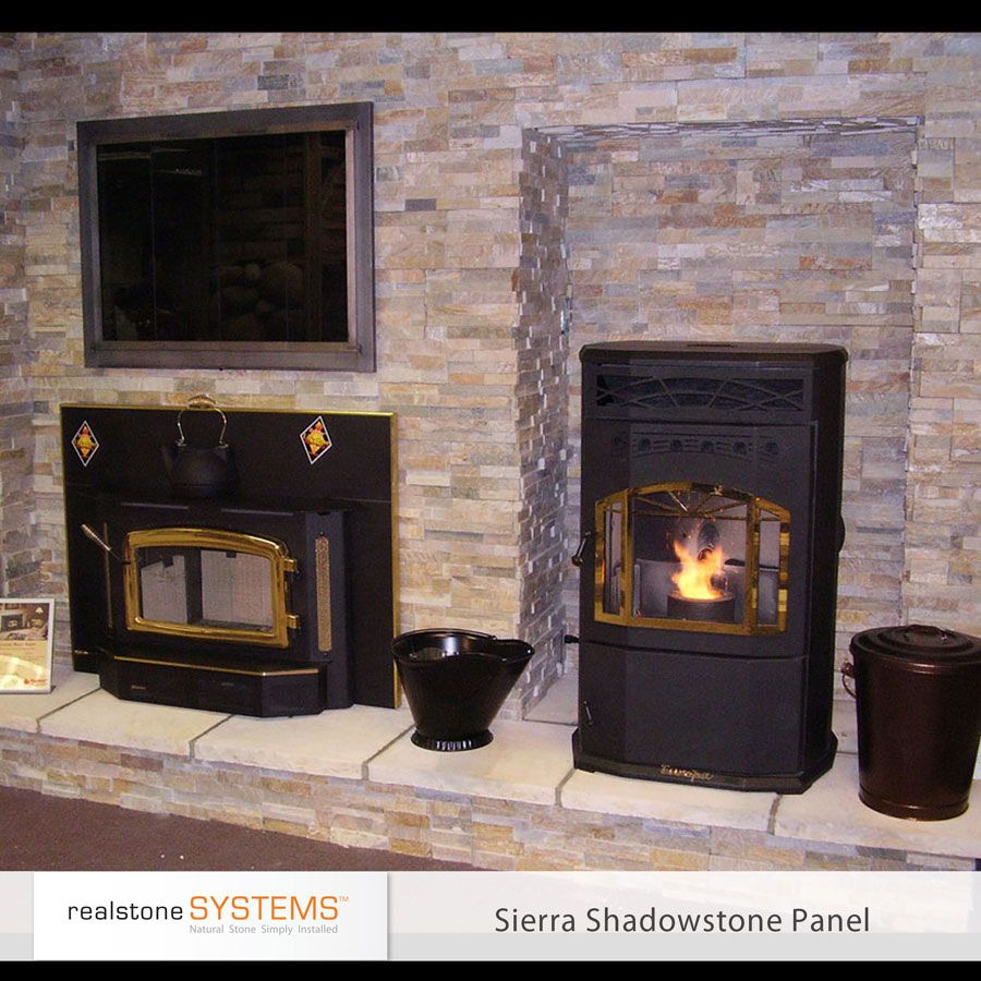 Front runner for stone on fireplace wall. Sierra Shadowstone Realstone