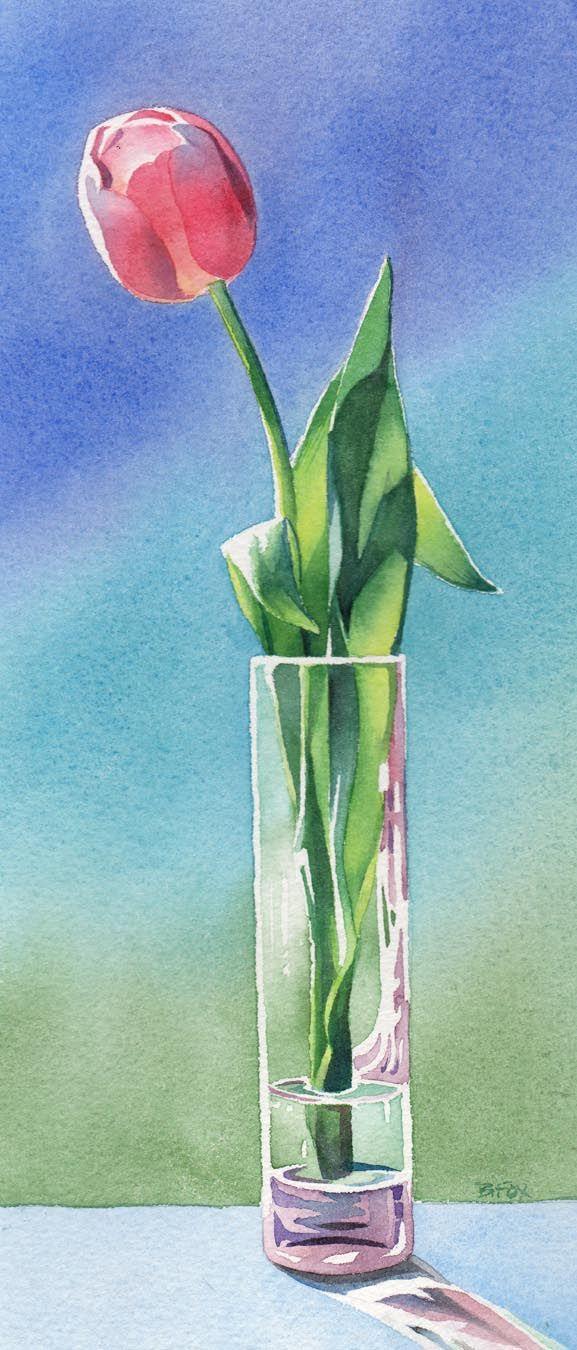 Barbara Fox Daily Paintings Tulip In Vase Painting