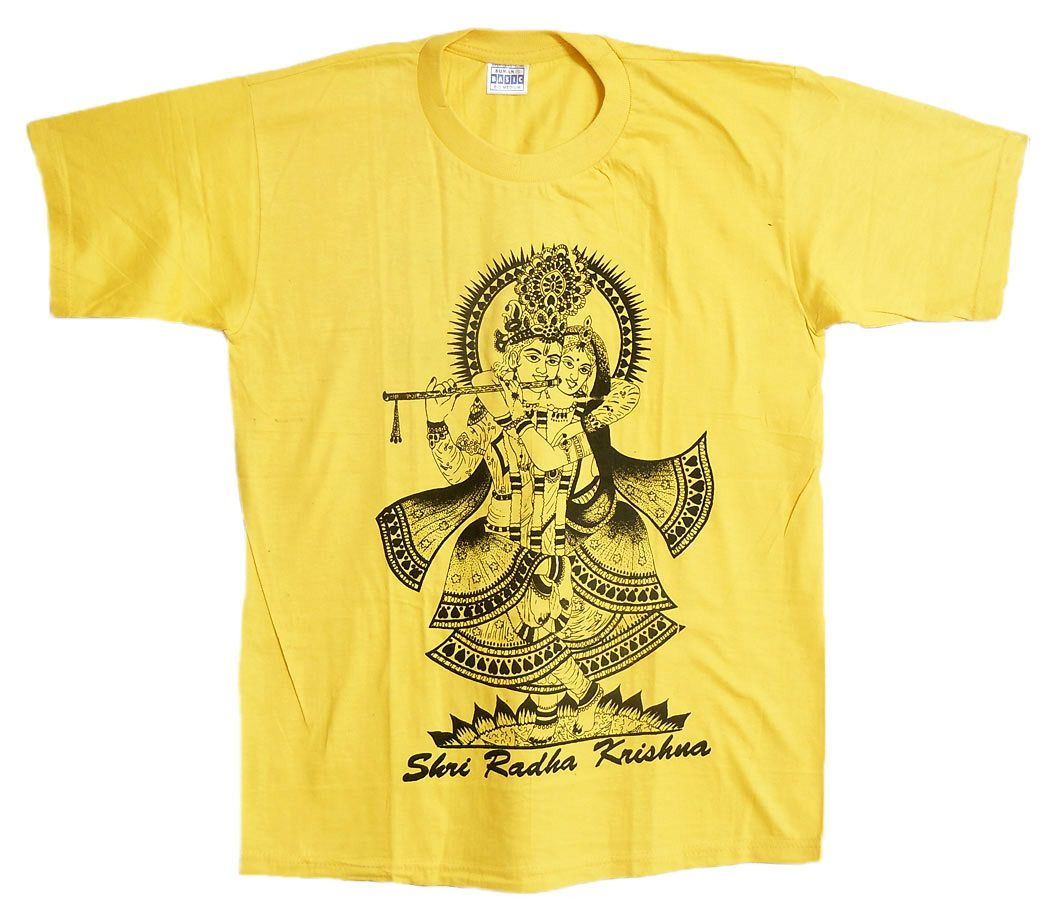 dd4c999e Radha Krishna Print on Yellow T-Shirt | Religious Apparel from India ...