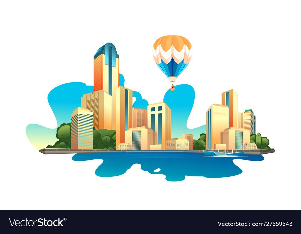 Modern Buildings Cityscape Vector Image On Vectorstock In 2020 Cityscape Modern Buildings Artwork