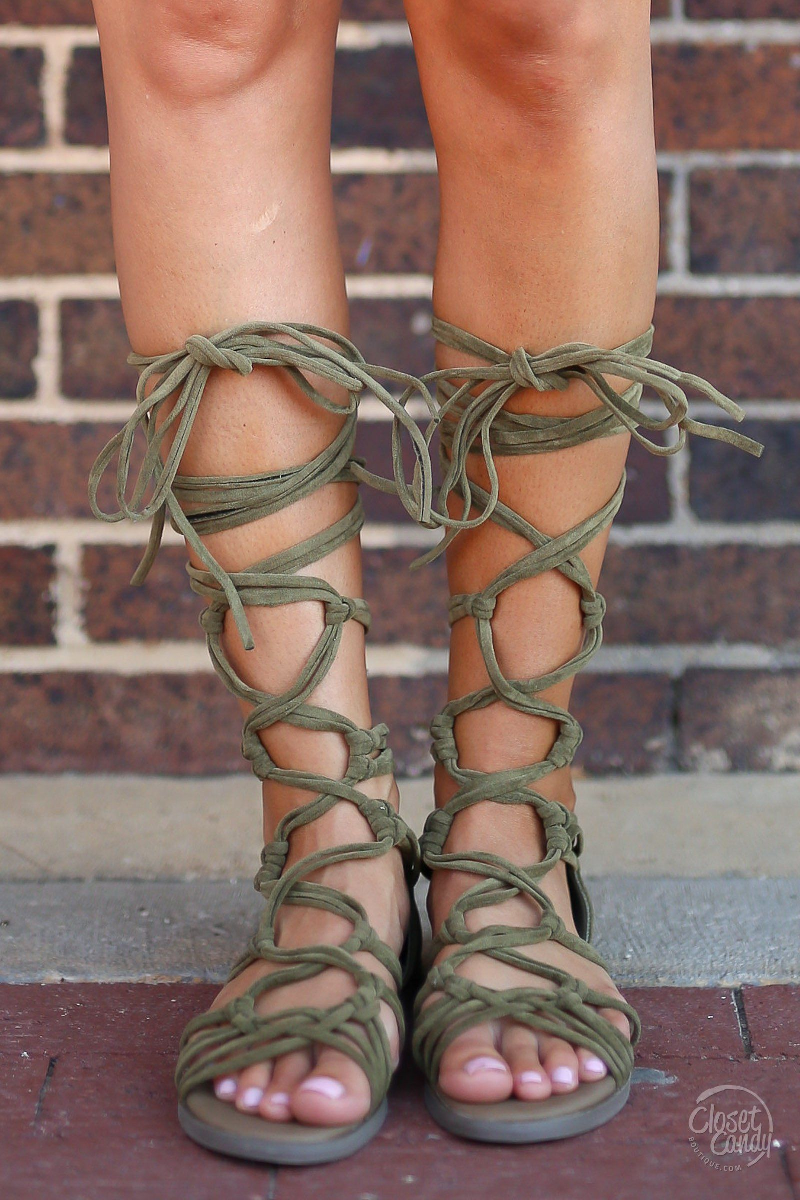 size 40 professional sale hot new products Indian Summer Lace-Up Sandals - Olive   Gladiator sandals heels ...