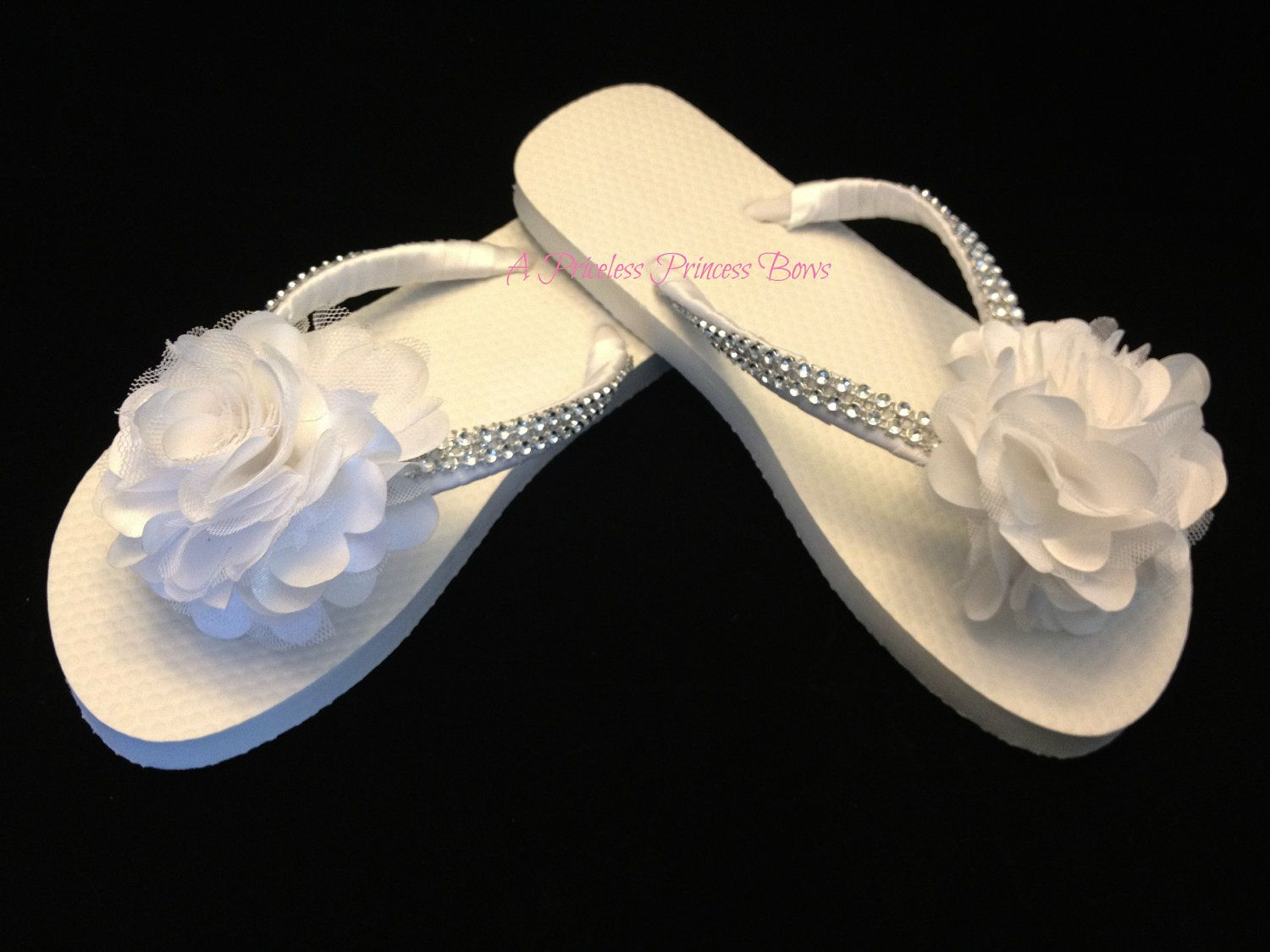Outstanding White Flip Flops With Flowers Collection Best Evening