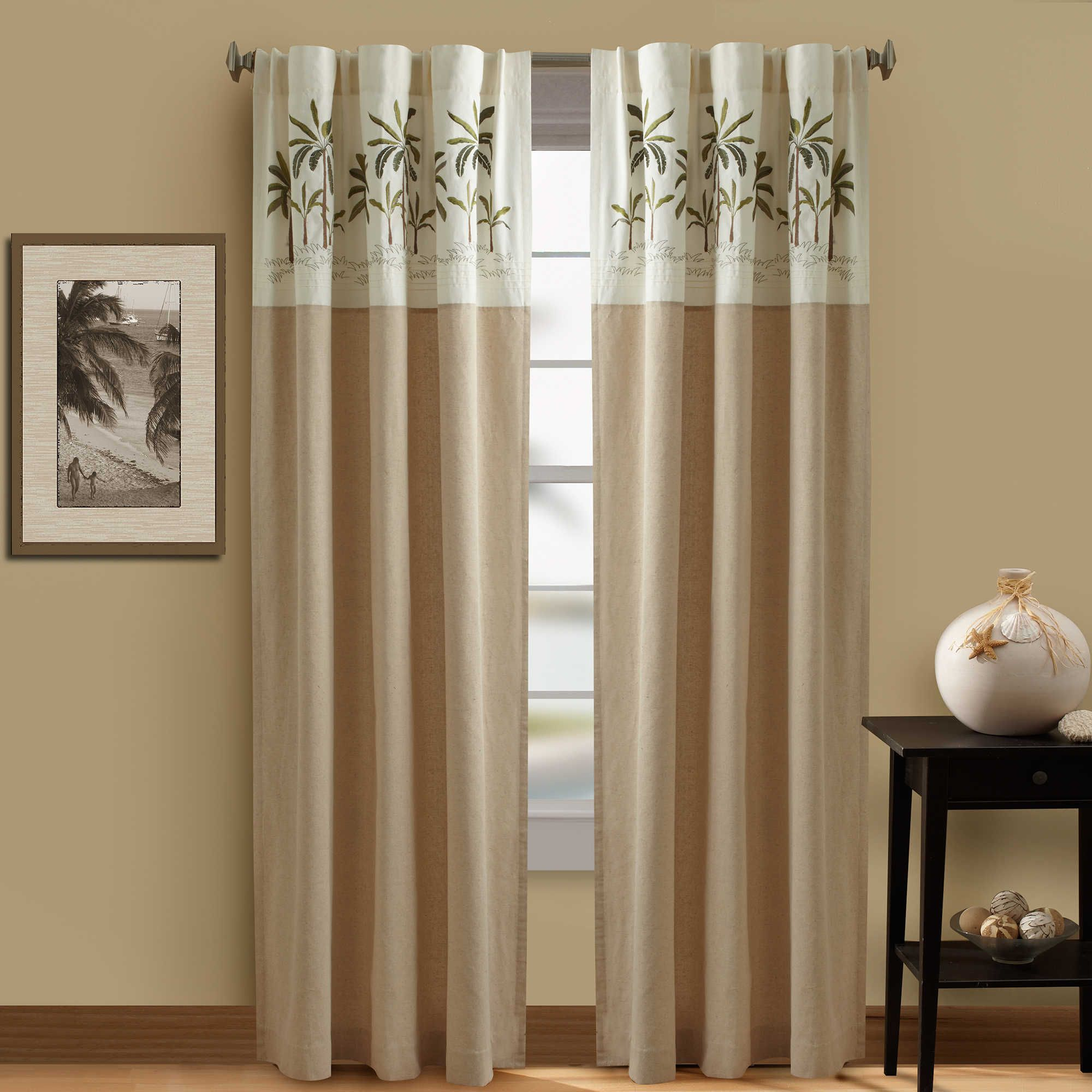 Bed bath and beyond window curtains  croscill palm tree lined rod pocketback tab window panel in ivory