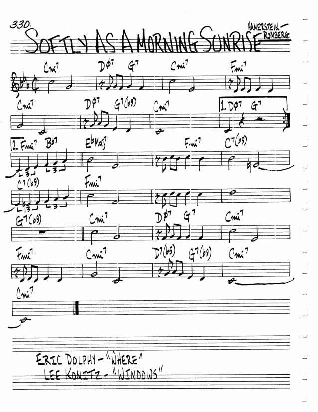 Jazz Standard Realbook chart SOFTLY AS A MORNING SUNRISE   Jazz