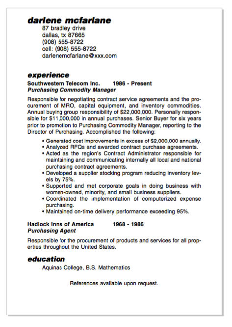 example of purchasing commodity manager resume http