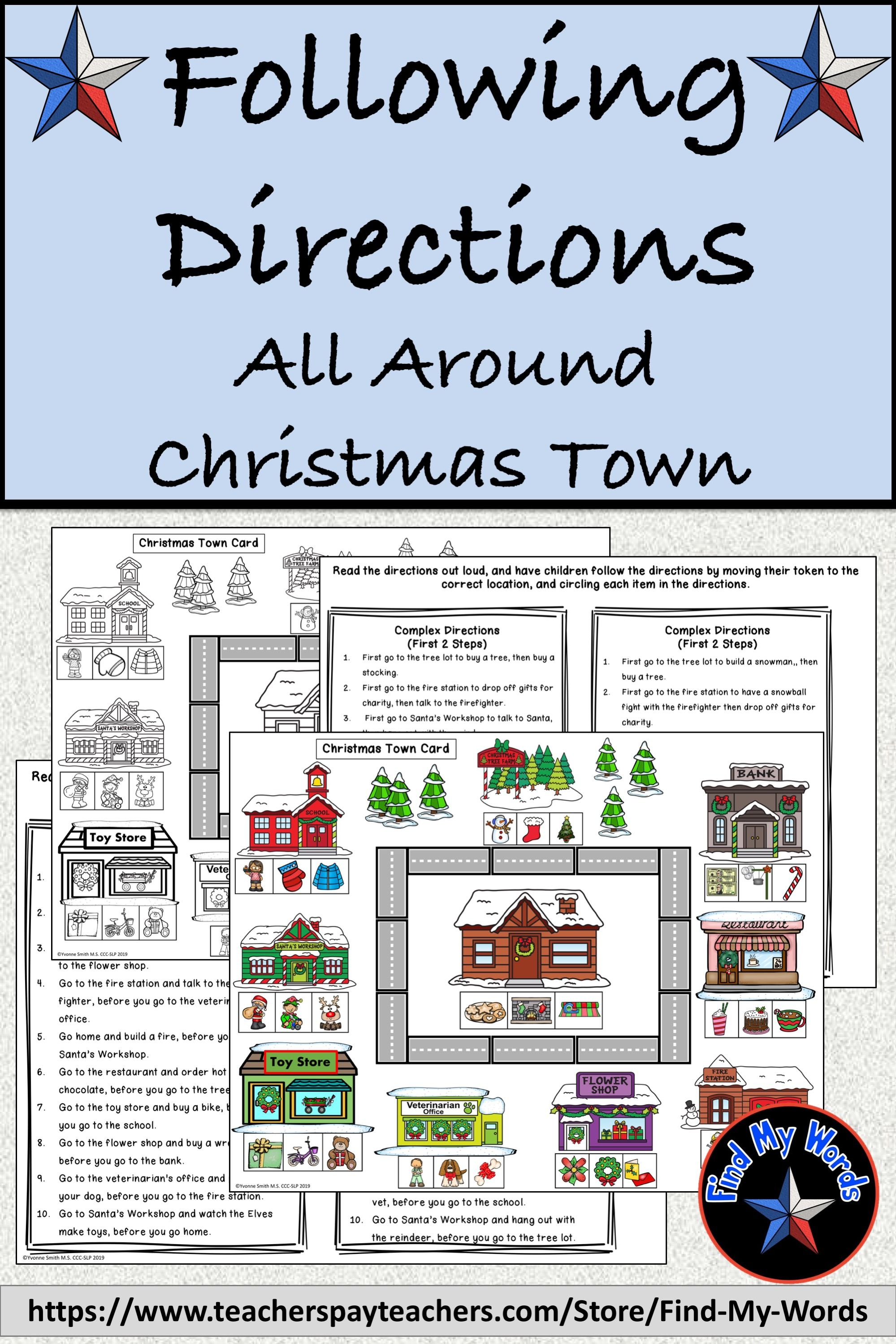 Listening And Following Directions Christmas Activity