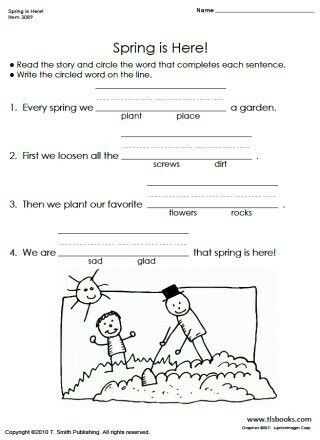 Spring Fill In With Images First Grade Worksheets Reading