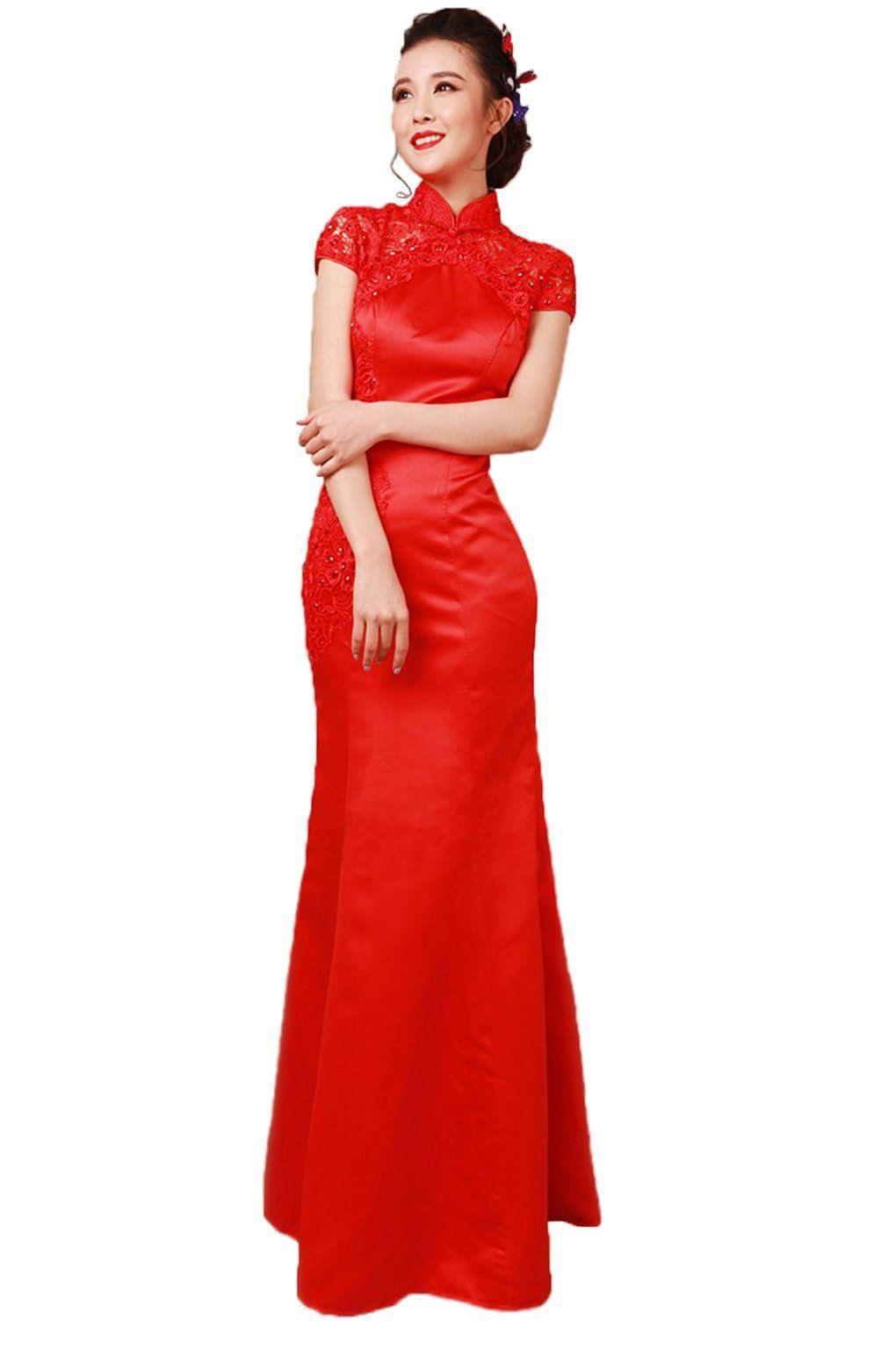 Angel formal dresses womenus red cheongsam wedding dresses prom