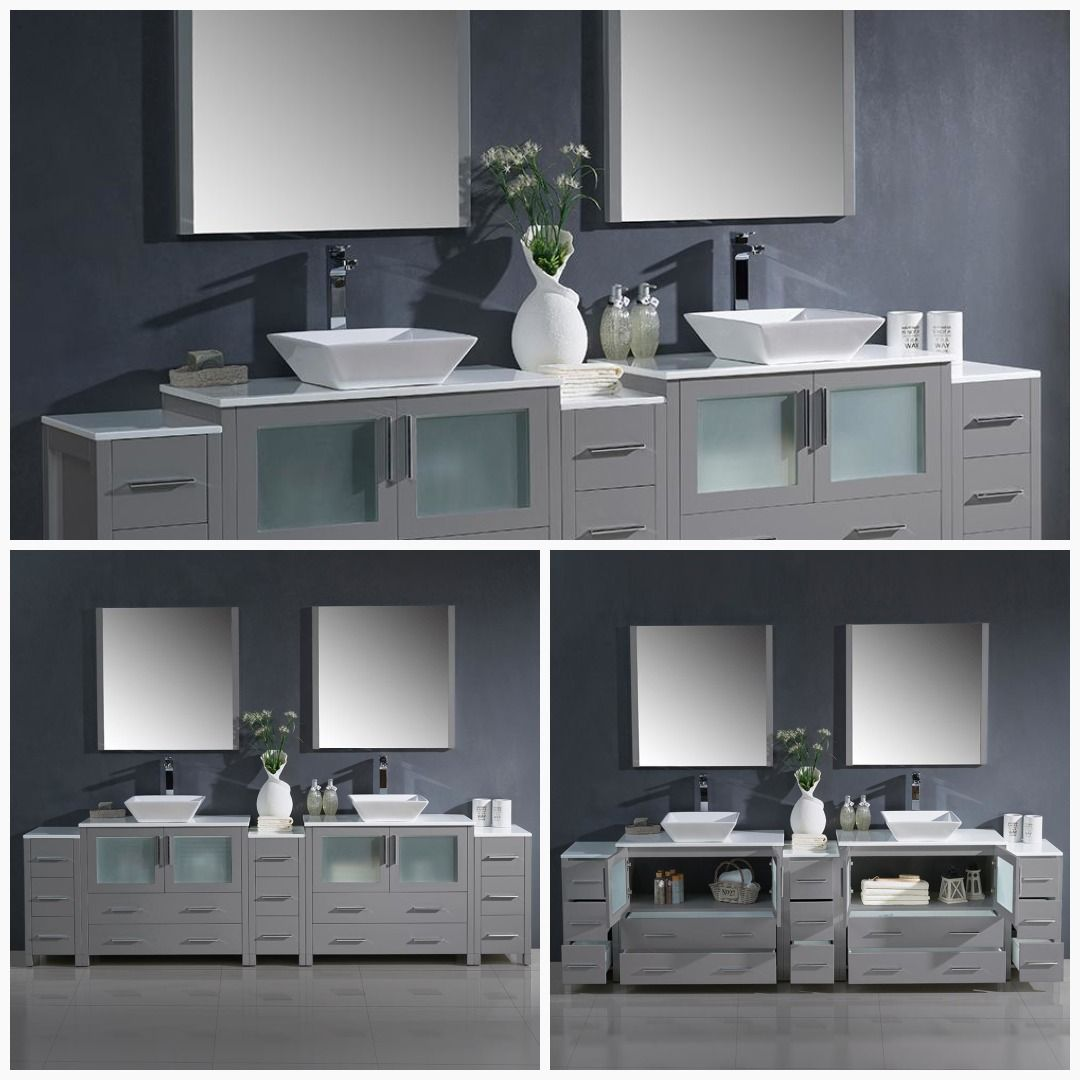 Fresca Torino 108 Double Bathroom Vanity Set With Mirror Base Finish Double Sink Bathroom Vanity Double Vanity Bathroom Modern Bathroom Vanity