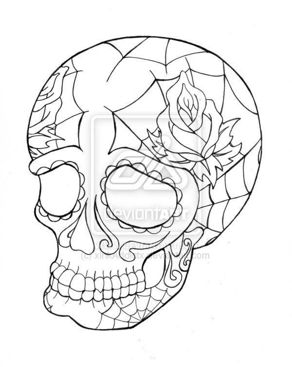 Coloring Page Skull Sugar Mexican Candy | Sugar Skull Lineart By  XInkAddictx On DeviantART
