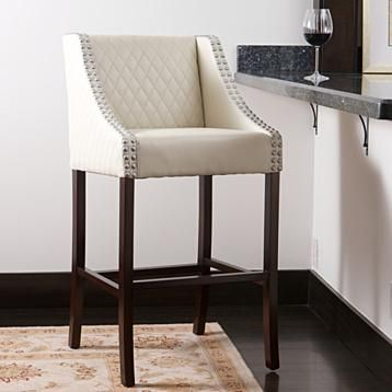 Filton Ivory Quilted Leather 27 Inch Counter Stool White Leather