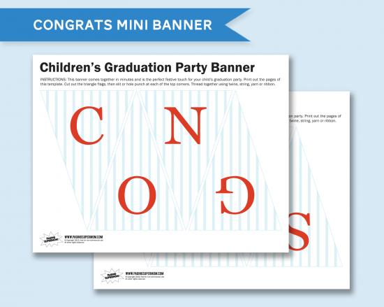free printable congrats mini banner for graduation graduation