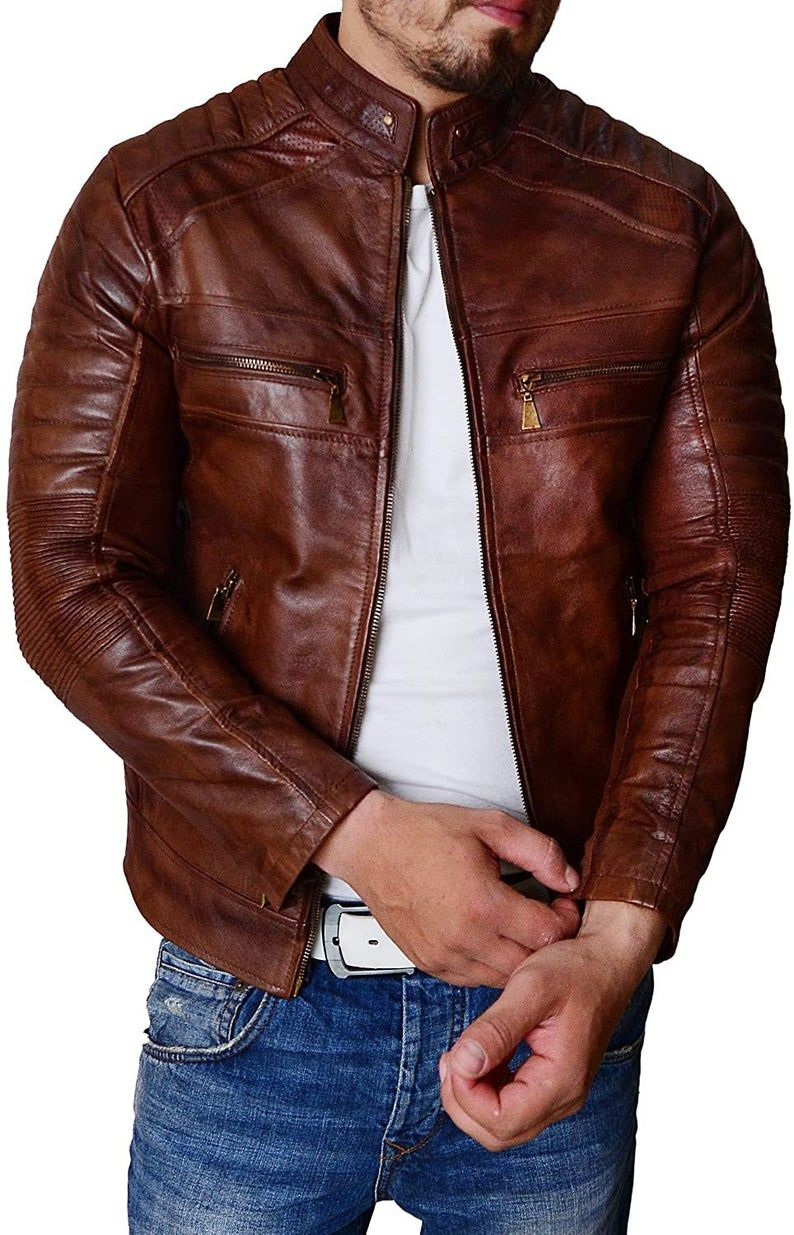 Distressed Brown Handmade Cafe Racer Leather Jacket For Men In 2021 Leather Jacket Brown Leather Jacket Men Cafe Racer Leather Jacket [ 1235 x 794 Pixel ]