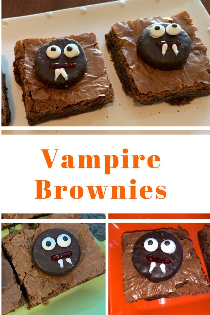 These Halloween brownies make great Halloween treats for parties.  Brownie ideas are always great Halloween dessert ideas for Halloween parties.  If you're needing to make Halloween party food and you don't have a lot of time, this is a great last-minute Halloween treat idea.  Just add a mint to each brownie as the vampire head.  Add eyes, draw lines for the mouth and fangs, and you're all set. #halloweenbrownies