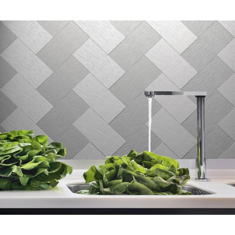 instant mosaic 6 in. x 3 in. peel and stick brushed stainless