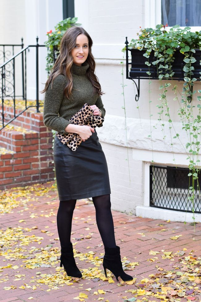 6d4fa50e2 How to Wear a Leather Skirt to Work | Style: Work Outfit Inspiration ...