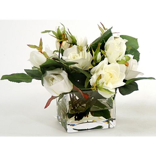 High end natural look 8 inch silk flower arrangement white roses high end natural look 8 inch silk flower arrangement white roses clear glass mightylinksfo Gallery