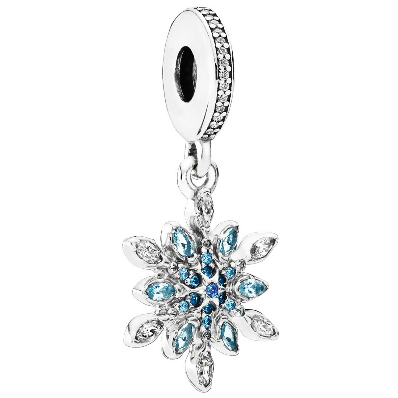 925 Silver Sterling ice crystal floral stone Charm Fits European brand bracelet