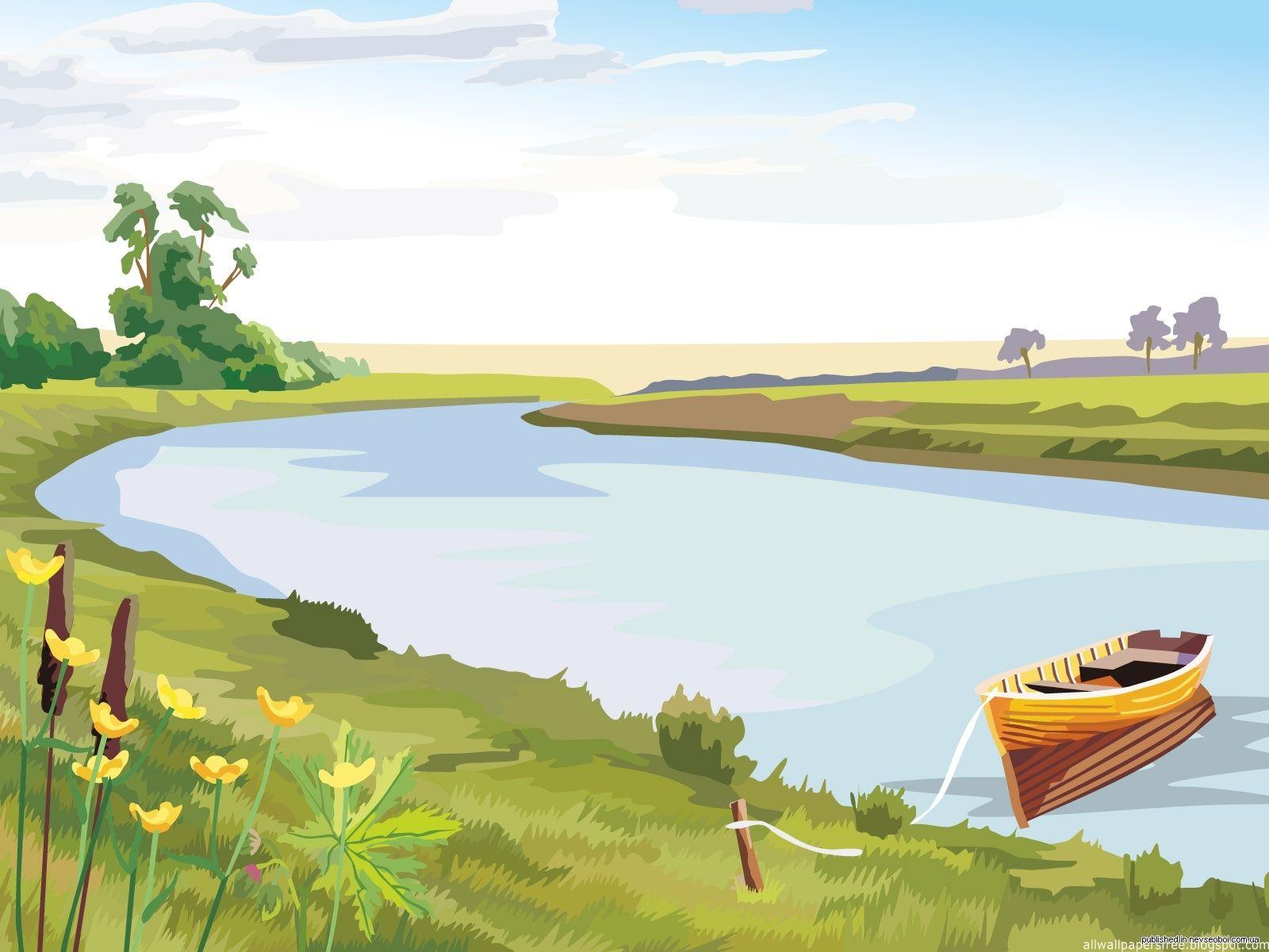 Картинка для детей на прозрачном фоне речка