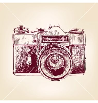 Vintage old photo camera llustration vector - by vladischern on VectorStock®