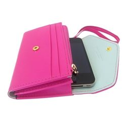 This handy yet chic PU leather mobile hot pink phone wallet wristlet allows you to carry all the necessities to the event so you are hands free to dance the night away! It features slots for IDs, cards, cash and  protects your phone mobile phone