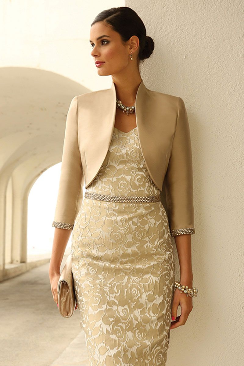 Short embossed dress with bead belt and bolero jacket with ...