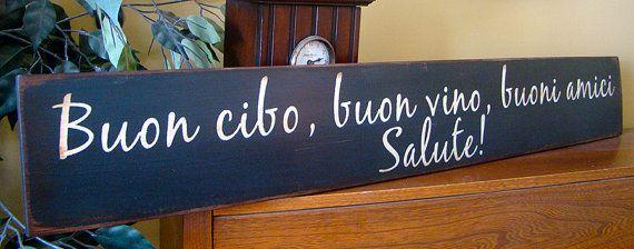 Italian Kitchen Wooden Primitive Sign Good Food Good Wine Good ...